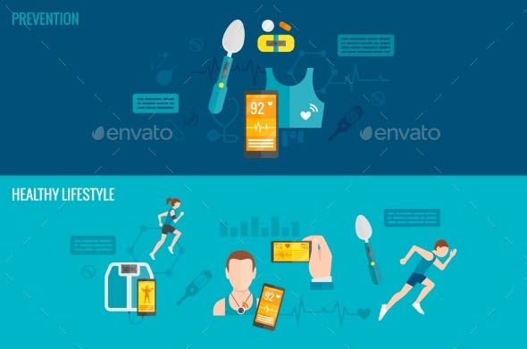 awesome 20 Cool Health illustration Banners (Vector)