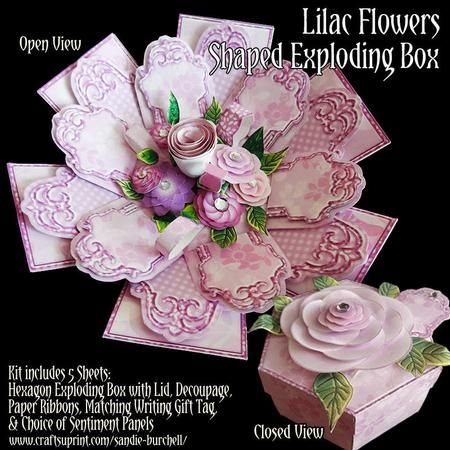 "Lilac Flowers Shaped Exploding Box on Craftsuprint designed by Sandie Burchell - Beautiful Hexagon Shaped Exploding Box with plenty of optional dimensional decoupage and paper ribbons for the inside of the box and the lid. The Kit consists of 5 sheets and includes: the six- sided box with 3 inside layers that form a large flower when you lift the lid off, patterned outer box, box lid and floral decoupage. The measurement when box is opened out flat is approximately 7.75"" square and the…"