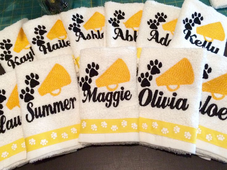 Personalized sweat towels for cheer camp. #cheercamp #cheergift