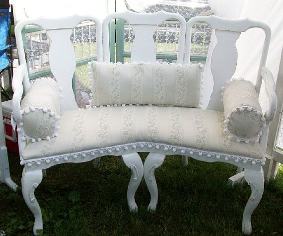 Bench Shabby Cottage Chic Paris French Style Upcycled Made From Three Chairs  By PinkPaperRose. Except The Pompoms! Good Lord Those Are Ugly!
