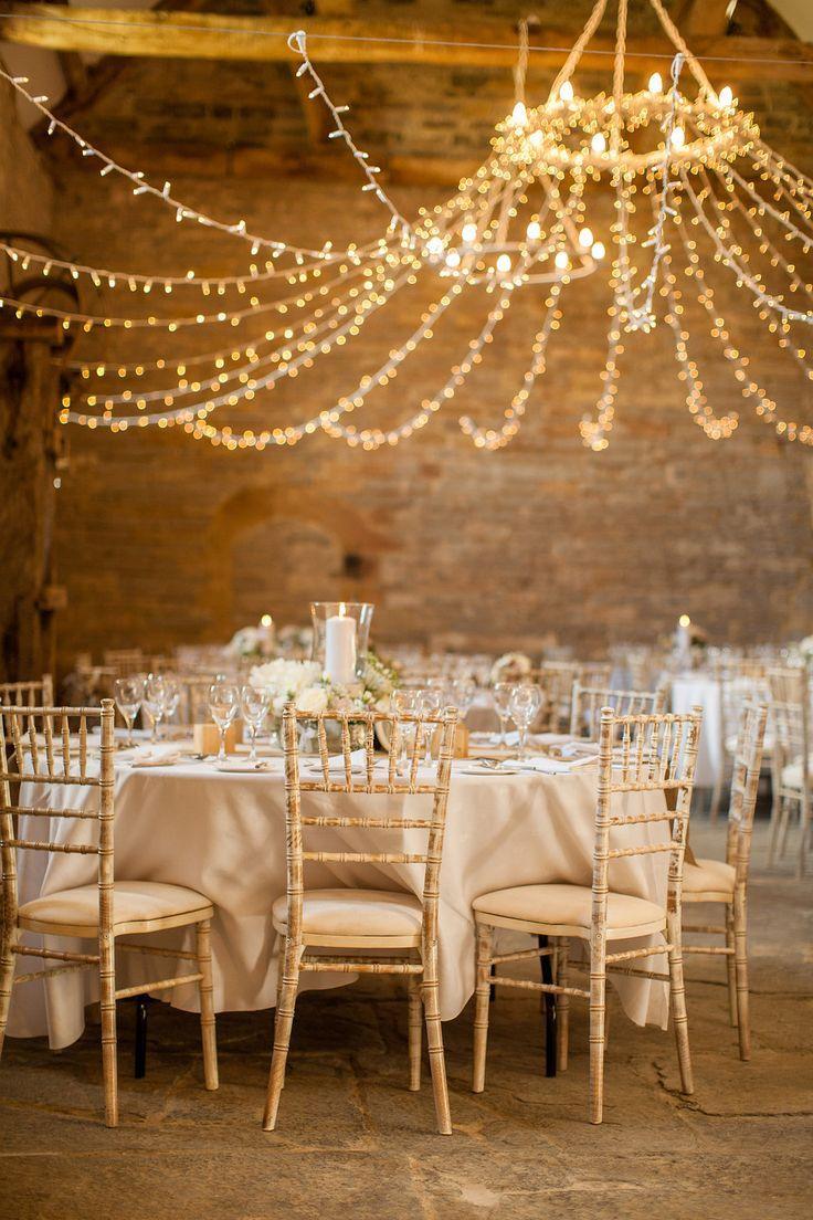 Rustic chic wedding - Twinkle fairy light chandelier barn wedding : fabmood.com