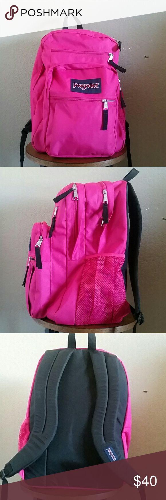 Jansport big student backpack, fuchsia Jansport big student back pack, fuchsia, used for a few weeks, excellent condition Jansport Bags Backpacks