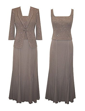 Classically styled 2 piece special occasion set features a sleeveless gown with sparkling overlay bodice and sheer overlay A-line skirt. Back zipper closure. The matching long sleeve jacket has soft shoulder pads, wide lapels, and a jeweled closure at the waist. sonsi.com