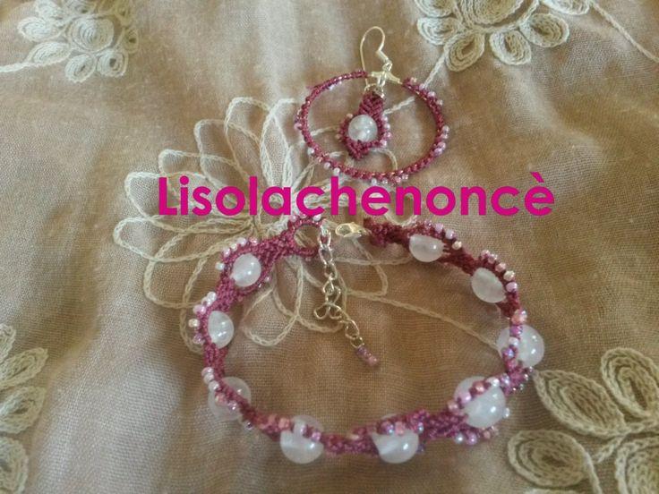 """Parure """"quarzo rosa"""" macrame handmade di lisolachenonce su Etsy"""