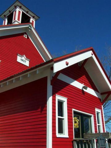 an old school house transformed into a cozy home - see more at: http://www.house-crazy.com/rezoned-and-repurposed-wisconsin-school-house/