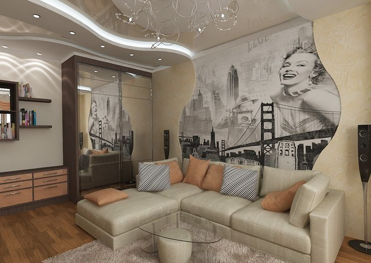 Beautiful Living Room With Interesting Wall Art, Which Depicts Marilyn  Monroe Pin Up Style Part 53