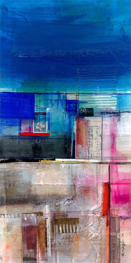 "Abstract Painting, Blue Mixed Media Art, ""Dream Passage No. 1"" Large Original…"