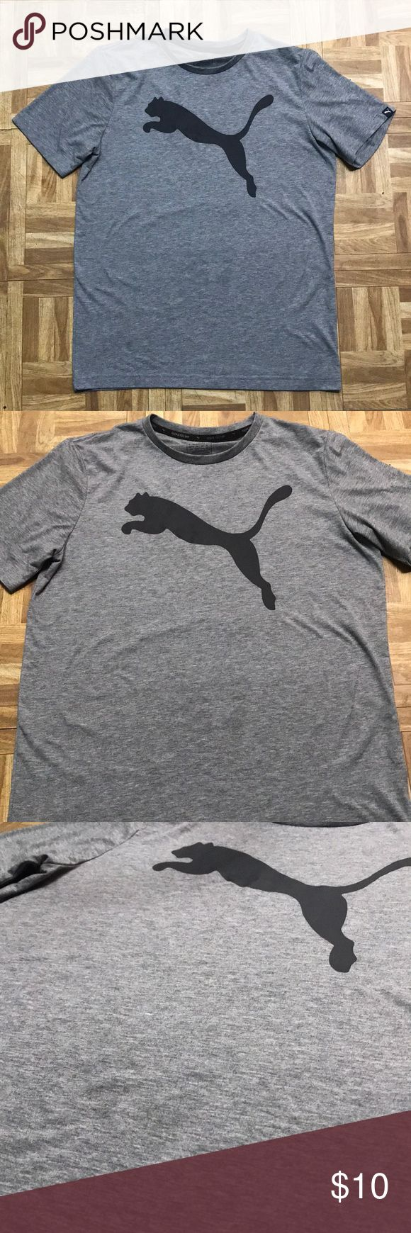 Men's puma shirt Size medium. Marked gray color with black puma on front. Short sleeve. Crew neck. Like new condition. Puma shirt - workout like shirt, light and airy. Helps keep you dry. Smoke free home. Puma Shirts Tees - Short Sleeve