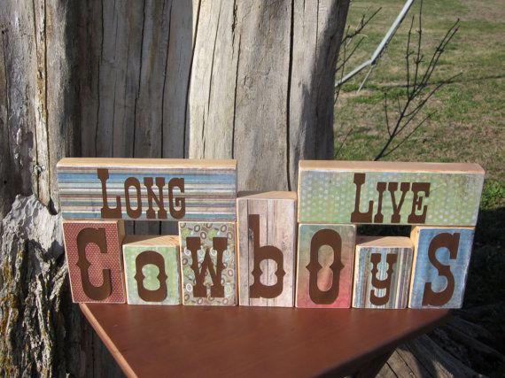 Long Live Cowboys Western Decorative Block by PudwillsCraftCorner, $36.00