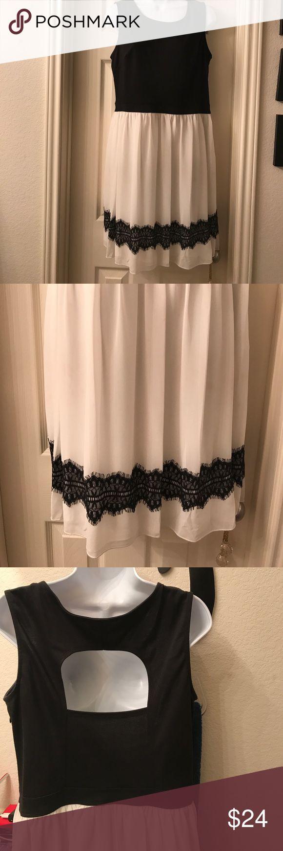 Gorgeous black cream party dress Great back cut out design bottom sheer lace trim design , Flows beautiful Enfocus Studio Dresses