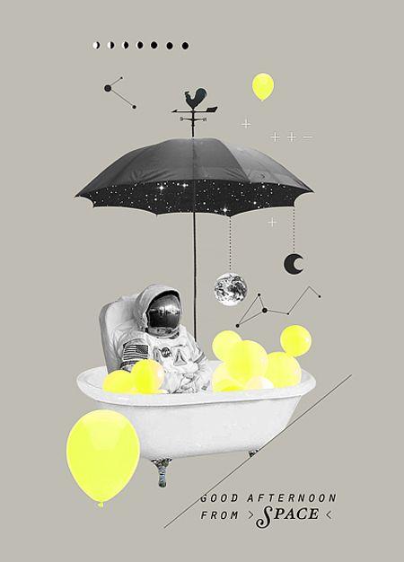 Bathing in space.