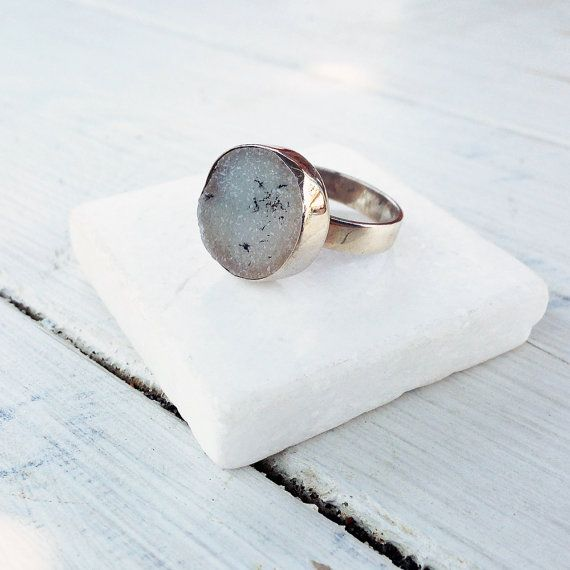 White Druzy Ring Druzy Greyed Agate Sterling by SunSanJewelry