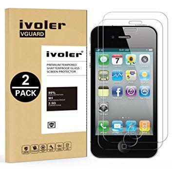 [2-Pack] iPhone 4 / 4S Protection écran , iVoler® Film Protection d'écran en Verre Trempé Glass Screen Protector Vitre Tempered pour Apple iPhone 4 / 4S - Dureté 9H, Ultra-mince 0.30 mm, 2.5D Bords Arrondis- Anti-rayure, Anti-traces de doigts,Haute-réponse, Haute transparence- Garantie de Remplacement de 18 Mois