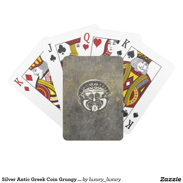 Silver Antic Greek Coin Grungy Playing Cards