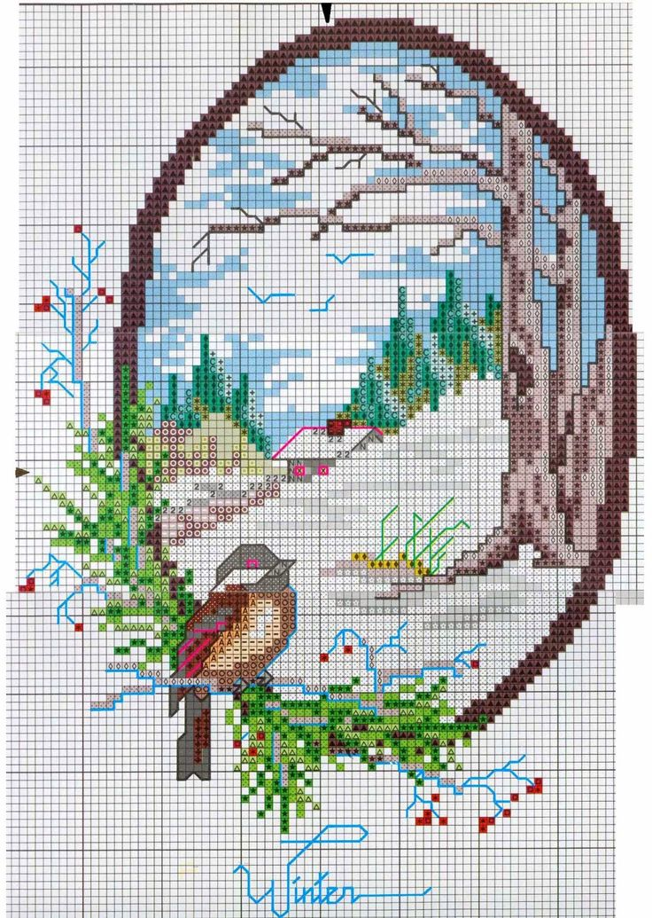 Embroidery, works and hundreds of cross-stitch patterns of all types, free: Four seasons cross stitch