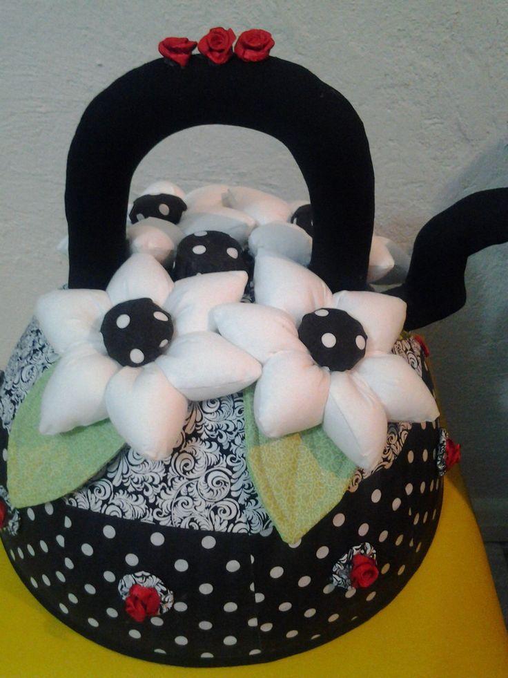 Cobre bolo tamanho G - revestido em tecido 100% algodão modelo chaleira - várias estampas e cores