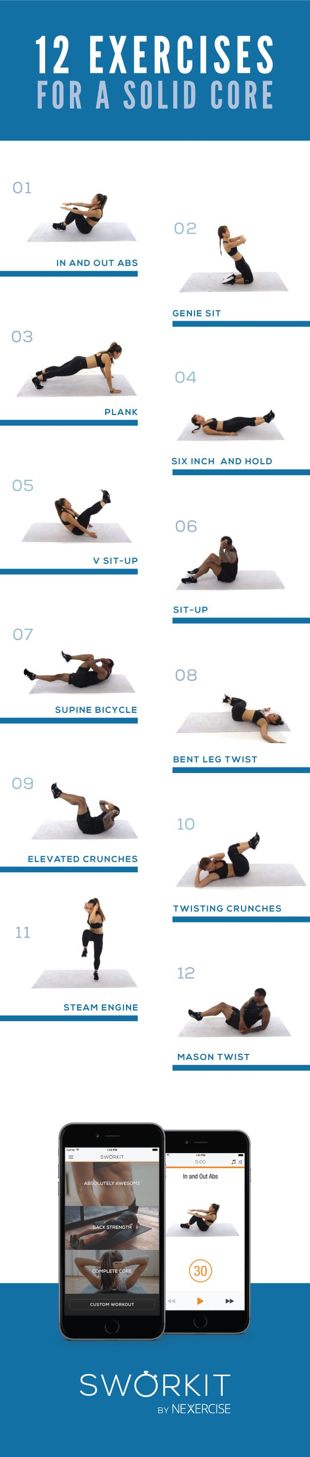 These highly effective exercises are part of our brand new Abs & Core Sworkit app that is now available for iOS in the App Store. With three distinct workouts that target your Abs, Back, and Core, you can focus on building that core you have always wanted.