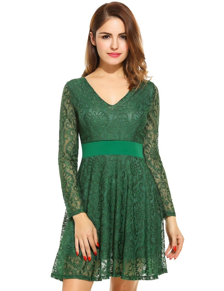 Green Women Fashion Elegant V-Neck Long Sleeve Hollow Floral Lace Evening Party A-Line Short Dress