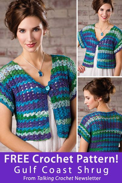 Gulf Coast Shrug Download from Talking Crochet newsletter. Click on the photo to access the free pattern. Sign up for this free newsletter here: AnniesNewsletters.com.