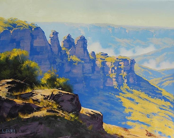 Three Sister, Blue Mountains, Australia. Original oil painting. Graham Gercken