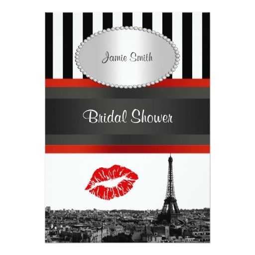 200 best kissing wedding invitations images on pinterest bridal paris skyline bw stripe red kiss pv bridal shower invitation stopboris Gallery