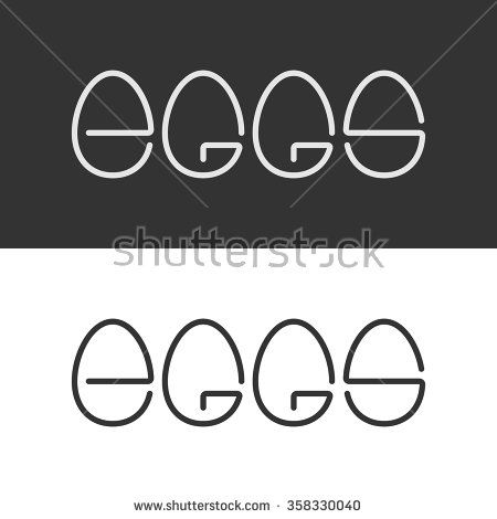 Egg Shape Text Logo. Minimalism Style Logotype. Vector.