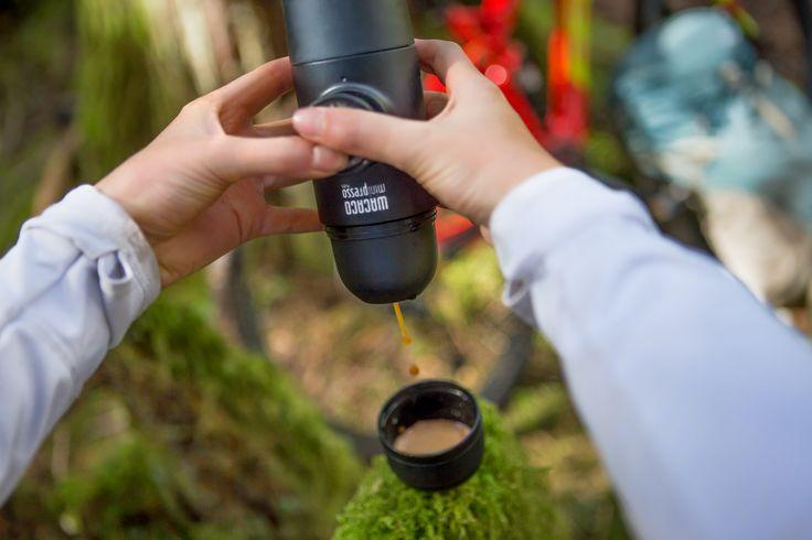 Be your own barista with Minipresso hand powered espresso maker! #espresso #coffee #portableespresso #portablecoffee #espressomaker #espressomachine #giftideasforcoffeelovers #espressoanywhere #wacaco #minipresso #mountainbiking  #oregon #pnw