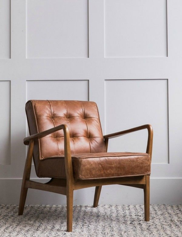 Mid Century Button And Stud Brown Leather Armchair Living Room