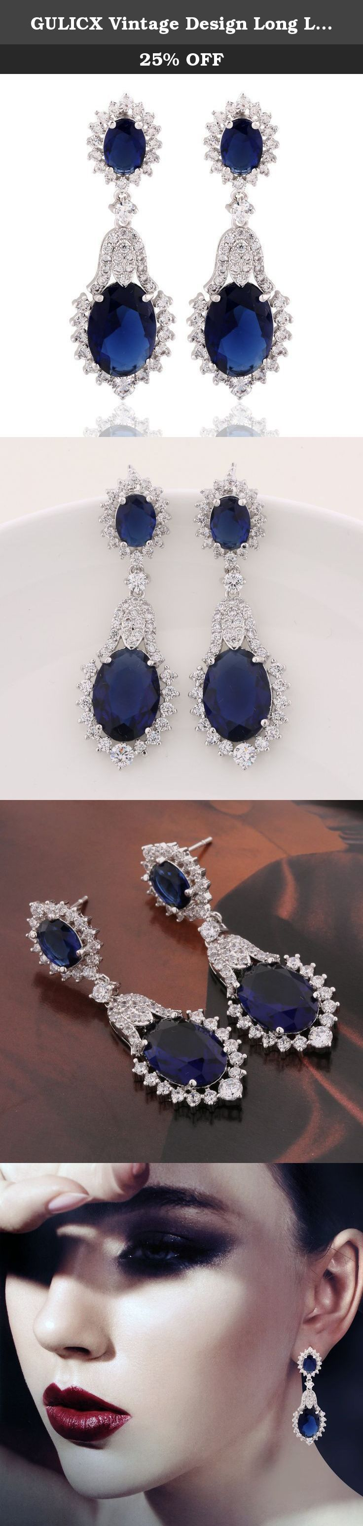 GULICX Vintage Design Long Luxury Oval CZ Stone Silver Tone Blue Sapphire Color Drop Earrings. Glimmering fashionable dangle earrings. Suitable for wedding, party, prom, anniversary, engagement day and daily wear.