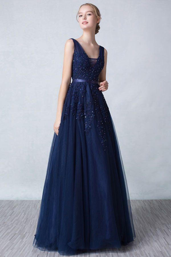 Chic A Linie Ruckenfrei Lang Abendkleid In Blau Aus Tull Persun Anziehsachen Langes Abendkleid Abendkleid Abiball Kleider Lang
