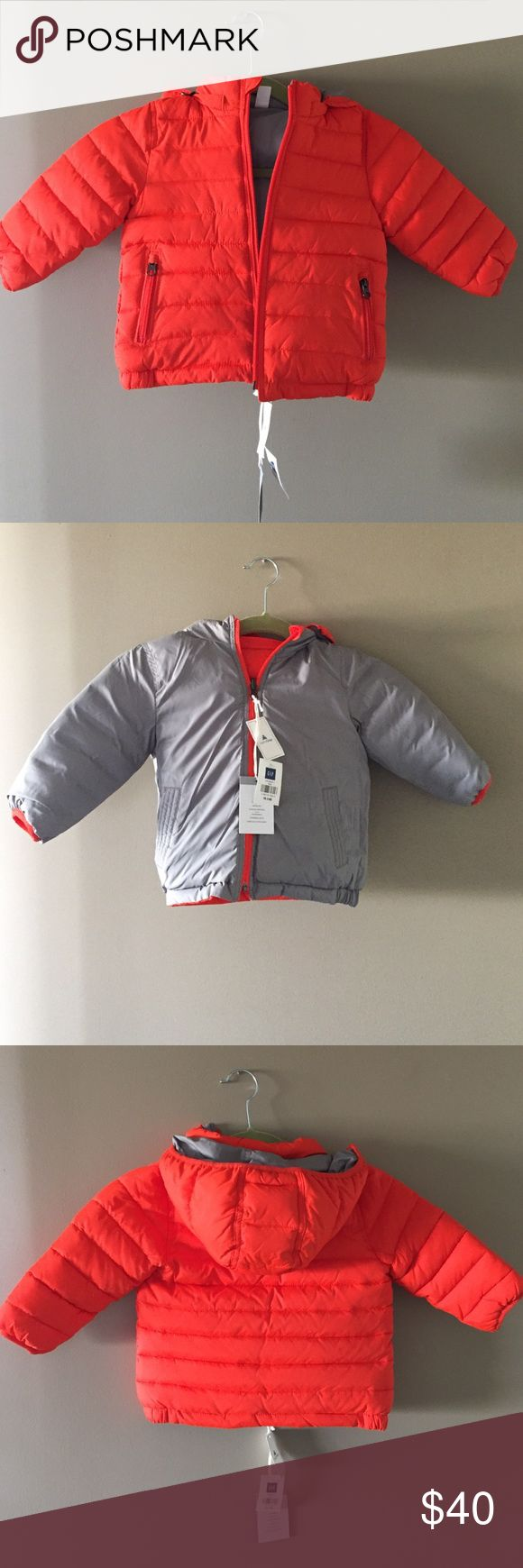 Orange baby gap reversible puffer jacket Two coats in one!!! Keep your little one warm in this puffer coat! Never been worn. New with tags. GAP Jackets & Coats Puffers