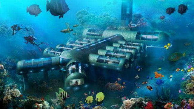 Recreación del hotel submarino generada por ordenador