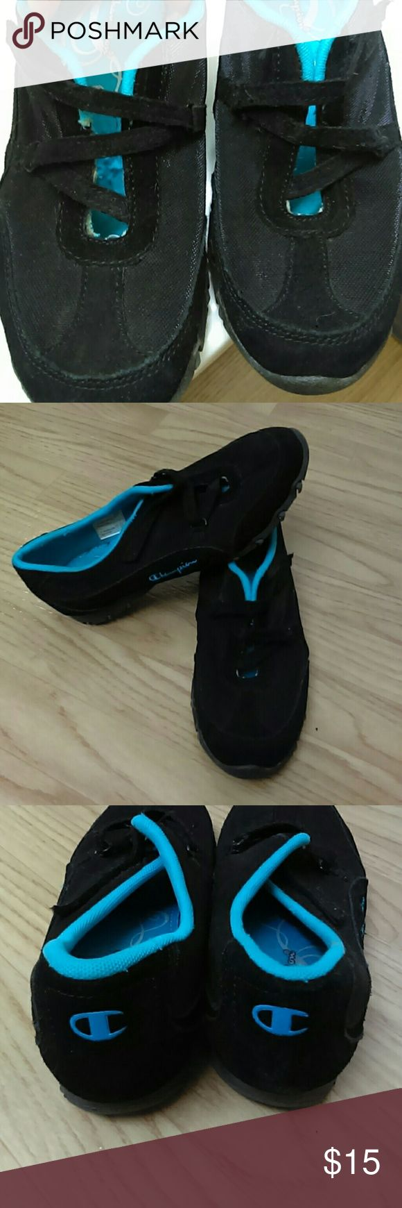 Champion slip on tennis shoes, size 7.5 Black with aqua blue lining.  Elastic laces.  Only worn a few times.  Great condition! Champion Shoes Sneakers