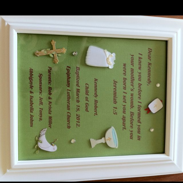 66 best godchildgodparent images on pinterest baptism ideas baptism gift could also frame a personalized letter to your godchild negle Images