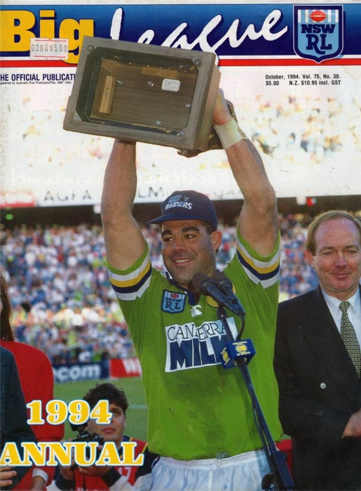 1994 official Annual featuring the Canberra Raiders Grand Final win and captain Mal Meninga.