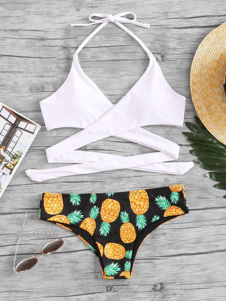 ¡Cómpralo ya!. Pineapple Print Wrap Bikini Set. White Bikinis Sexy Vacation Halter Top Polyester YES Print Swimwear. , bikini, bikini, biquini, conjuntosdebikinis, twopiece, bikini, bikini, bikini, bikini, bikinis. Bikini  de mujer   de SheIn.