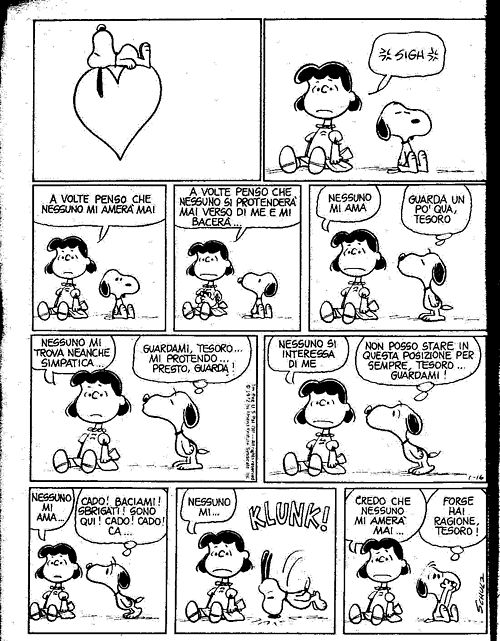 peanutsblog:    Peanuts in italian! Lucy and Snoopy.
