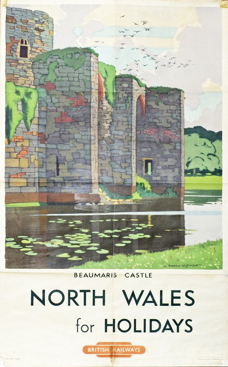 WALES - North Wales for Holidays, Beaumaris Castle by Norman Wilkinson