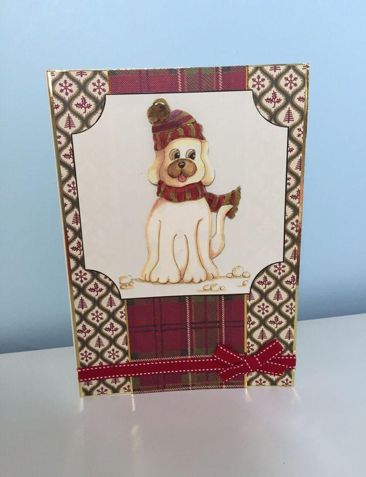 Handmade dog Christmas card using house of zandra decoupage