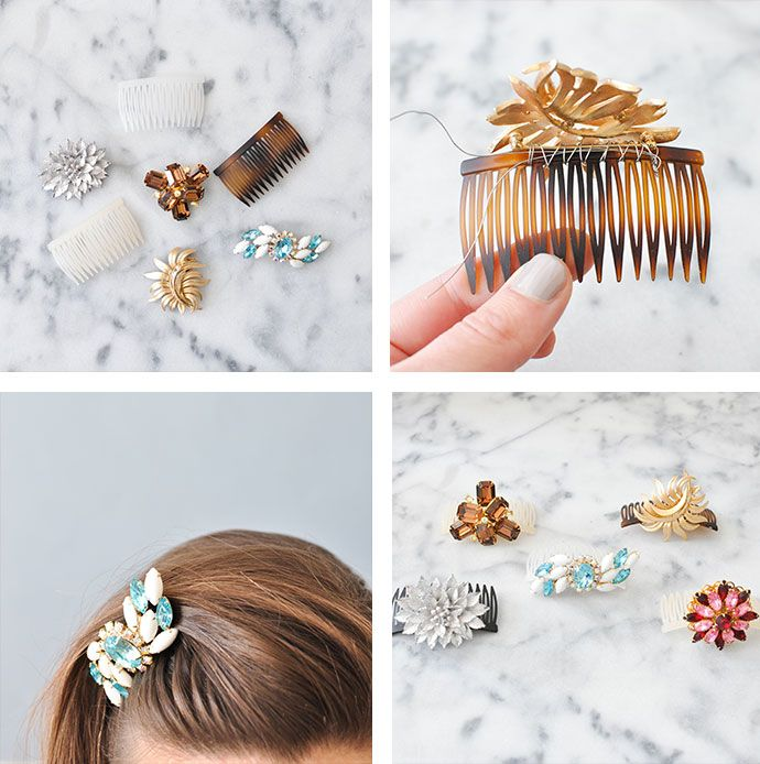 Make a DIY bun pin using small 3'' combs and a favorite piece of jewelry.