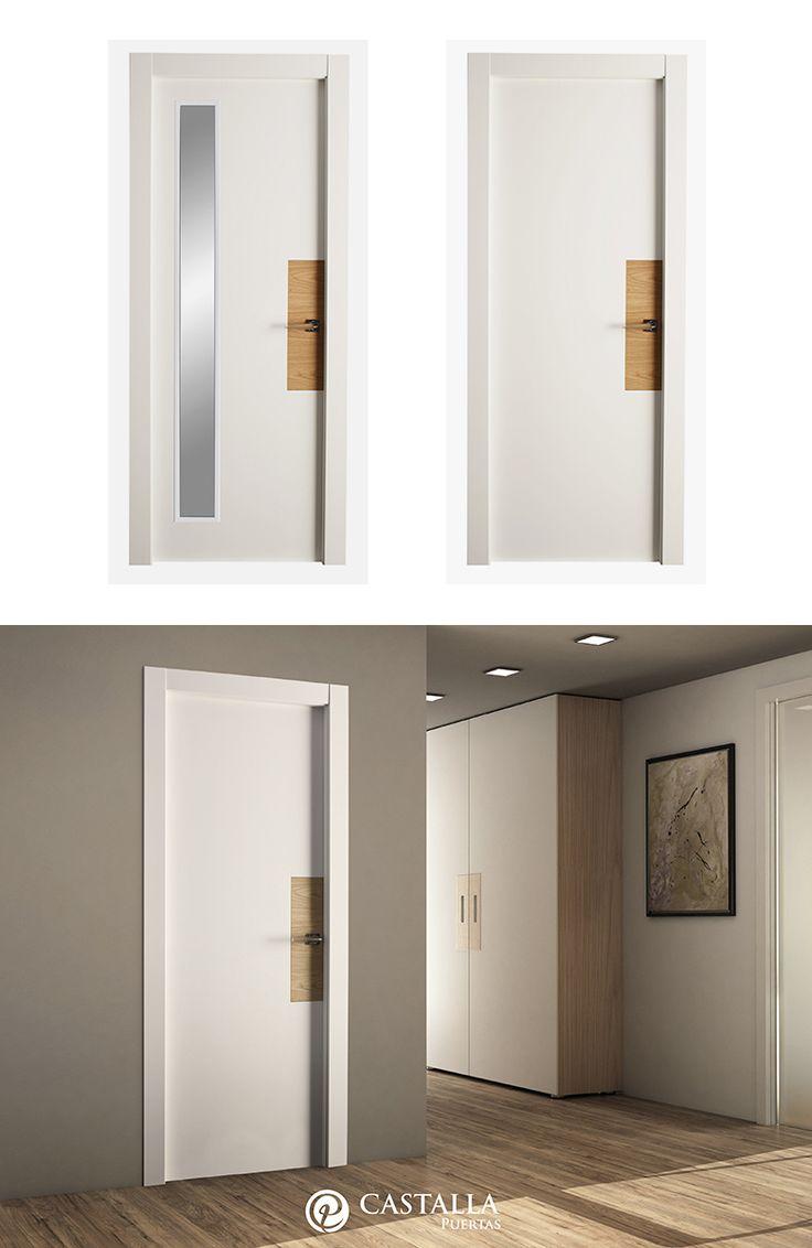 Puerta de Interior Blanca   Modelo IRIS de la Serie Imagin de Puertas Castalla. Puerta lacada blanca con manilla Spot