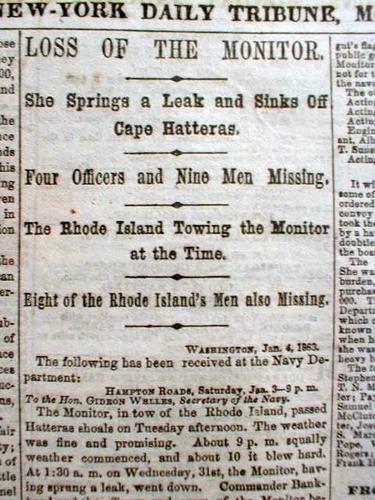 Best Original 1863 Civil War Newspaper USS Monitor .Was 1ST Ironclad Warship