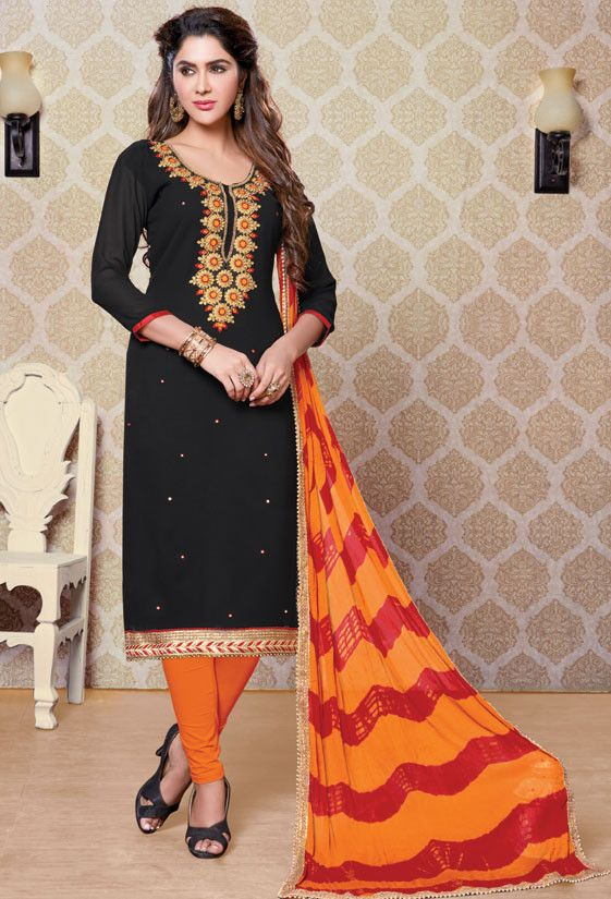 Black Churidar Kameez with Bandhani Dupatta