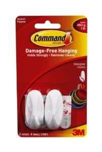 Command Small Designer Hooks, 2-Hook by Command. $3.96. Amazon.com                  3M Adhesive Technology Command products offer simple, damage-free hanging solutions for many projects in your home and office. Simplify decorating, organizing, and celebrating with an array of general and decorative hooks, picture and frame hangers, organization products, and more. Thanks to the innovative Command adhesive strips, you can mount and remount your Command products w...