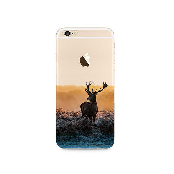 Rentier Hirsch Landschaft Natur iPhone 6 s 6 Plus 5 s 5 Case Transparent klar Soft Silikon Gummi gedruckt Decken gratis Versand weltweit