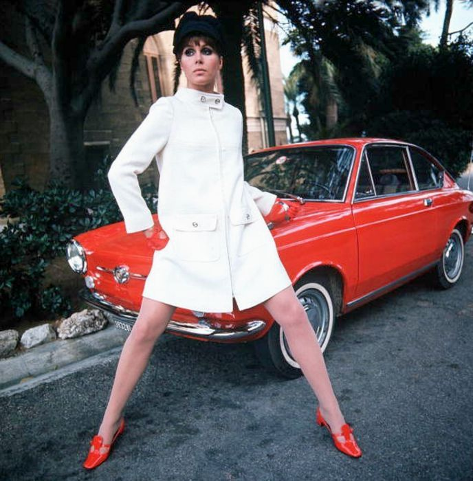 Winter white car coat (or short coat) worn by Joanna Lumley in 1968