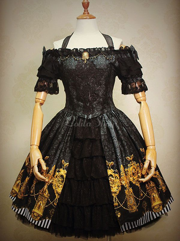 f92f7cf90f0 Lolitashow Gothic Lolita Dress Black Bow Printed Ruffles Jacquard Gothic  Lolita Dress Suit With Lace Embroidered