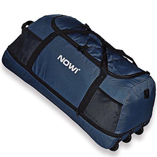 Nowi XXL 3-Rollen Reisetasche 100-135 Liter Volumen Rollenreisetasche platzsparend 81 cm mit Dehnfalte dunkelblau
