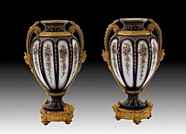 PAIR OF 19TH C ORMOLU MOUNTED BACCARAT VASES SIGNED
