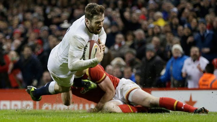 Elliott Daley of England scores a dramatic late try in the 21-16 win over Wales in the 2017 Six Nations tournament